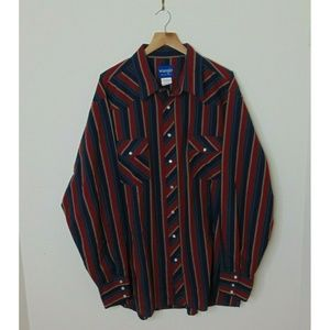 Wrangler XXL Striped Pearl Snap Western Shirt Red